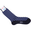 Double Stripe Cotton Calf Socks - Navy