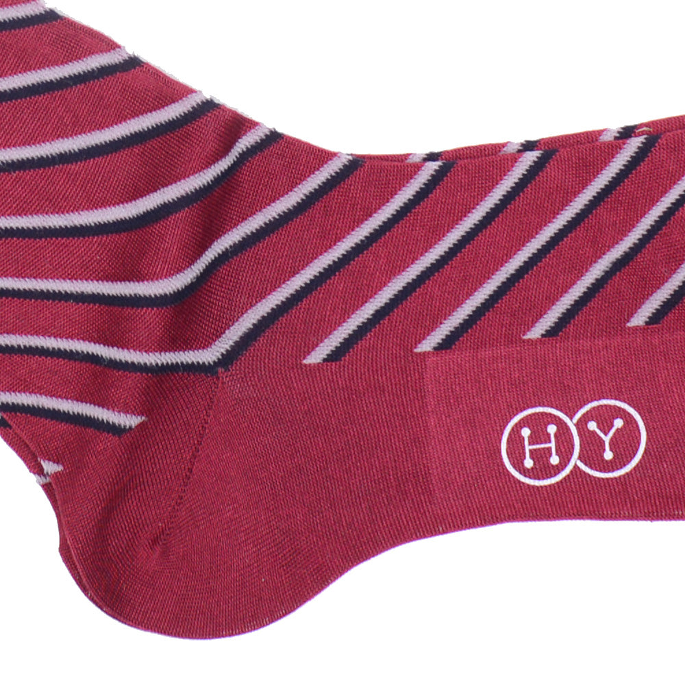 Double Stripe Cotton Calf Socks - Red