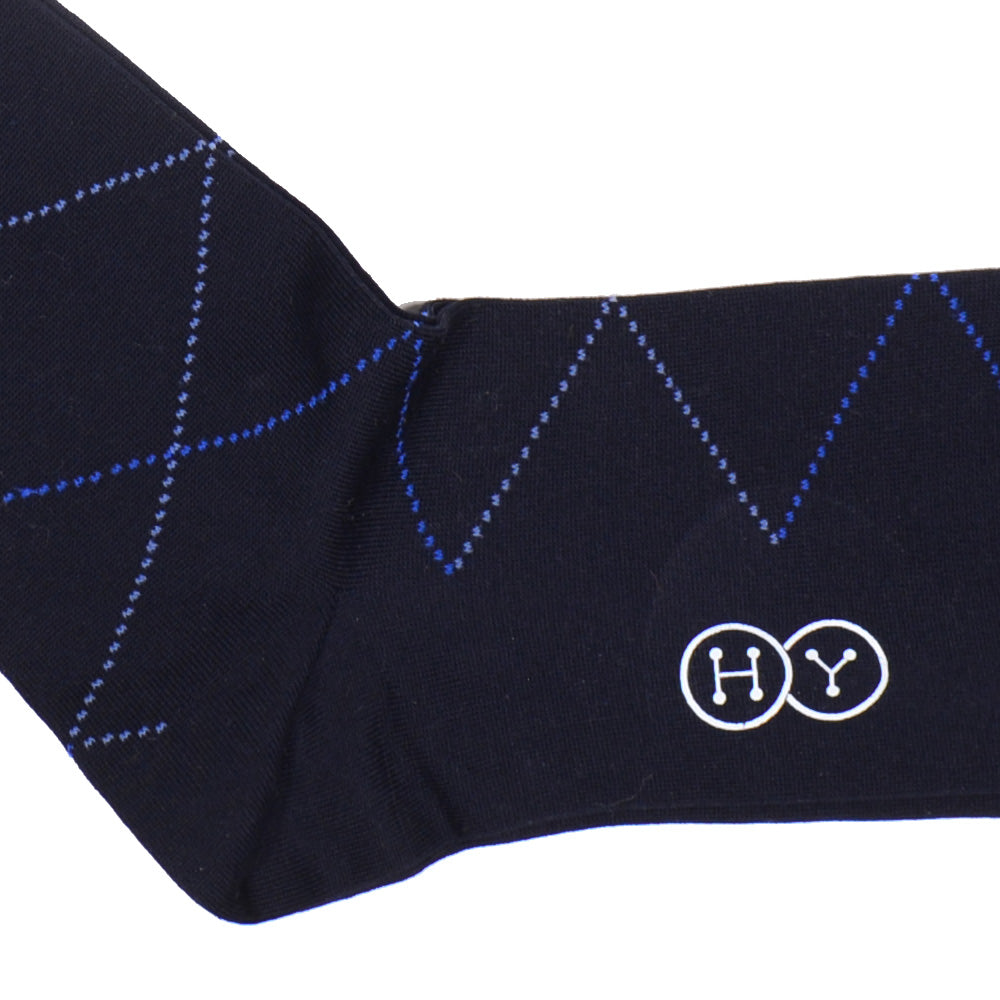 Diamond Cotton OTC Socks - Navy