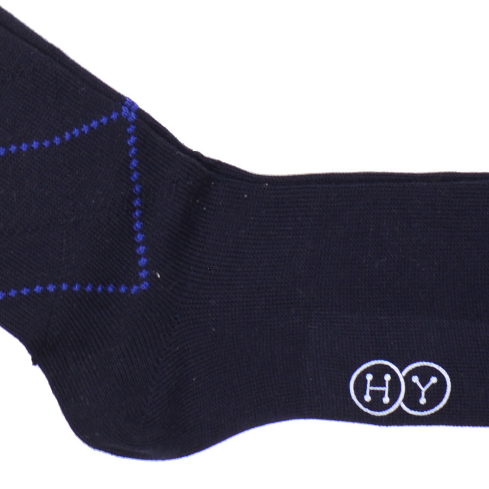 Diamond Cotton OTC Socks - Navy and Royal