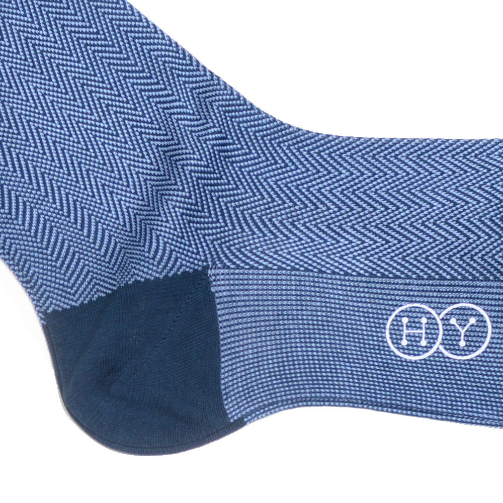 Herringbone Cotton Calf Socks - Green