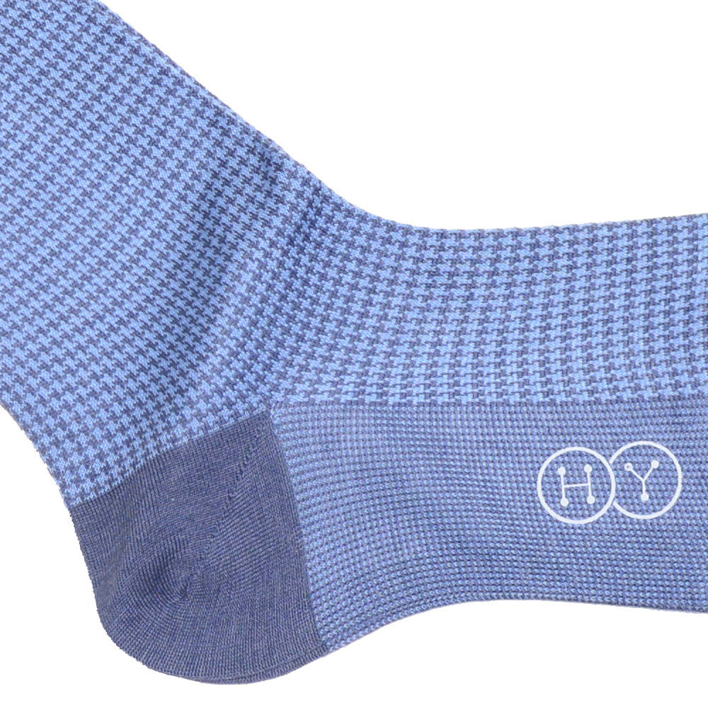 Houndstooth Cotton Calf Socks - Light Blue