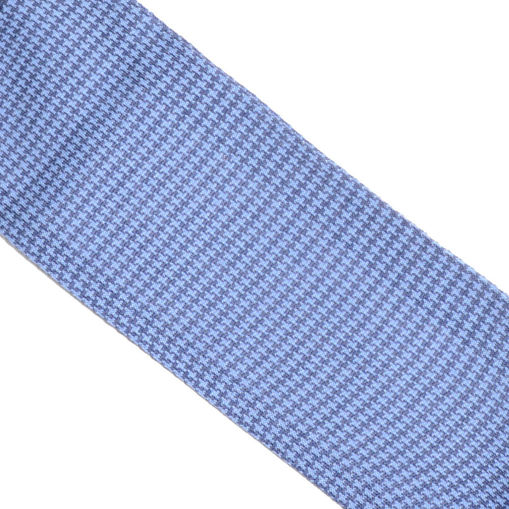 Houndstooth Cotton OTC Socks - Light Blue