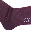 Pindot Cotton OTC Socks - Burgundy and Orange