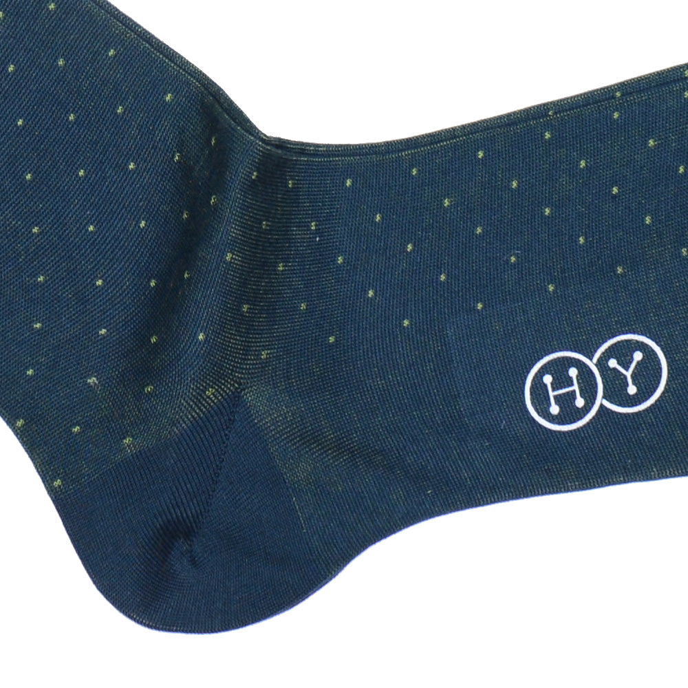 Pindot Cotton OTC Socks - Hunter Green