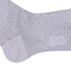 Pindot Cotton Calf Socks - Light Gray and Black