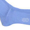 Ribbed Cotton Calf Socks - Sky Blue