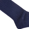 Ribbed Linen Calf Socks - Navy
