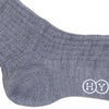 Ribbed Wool Calf Socks - Mid Gray
