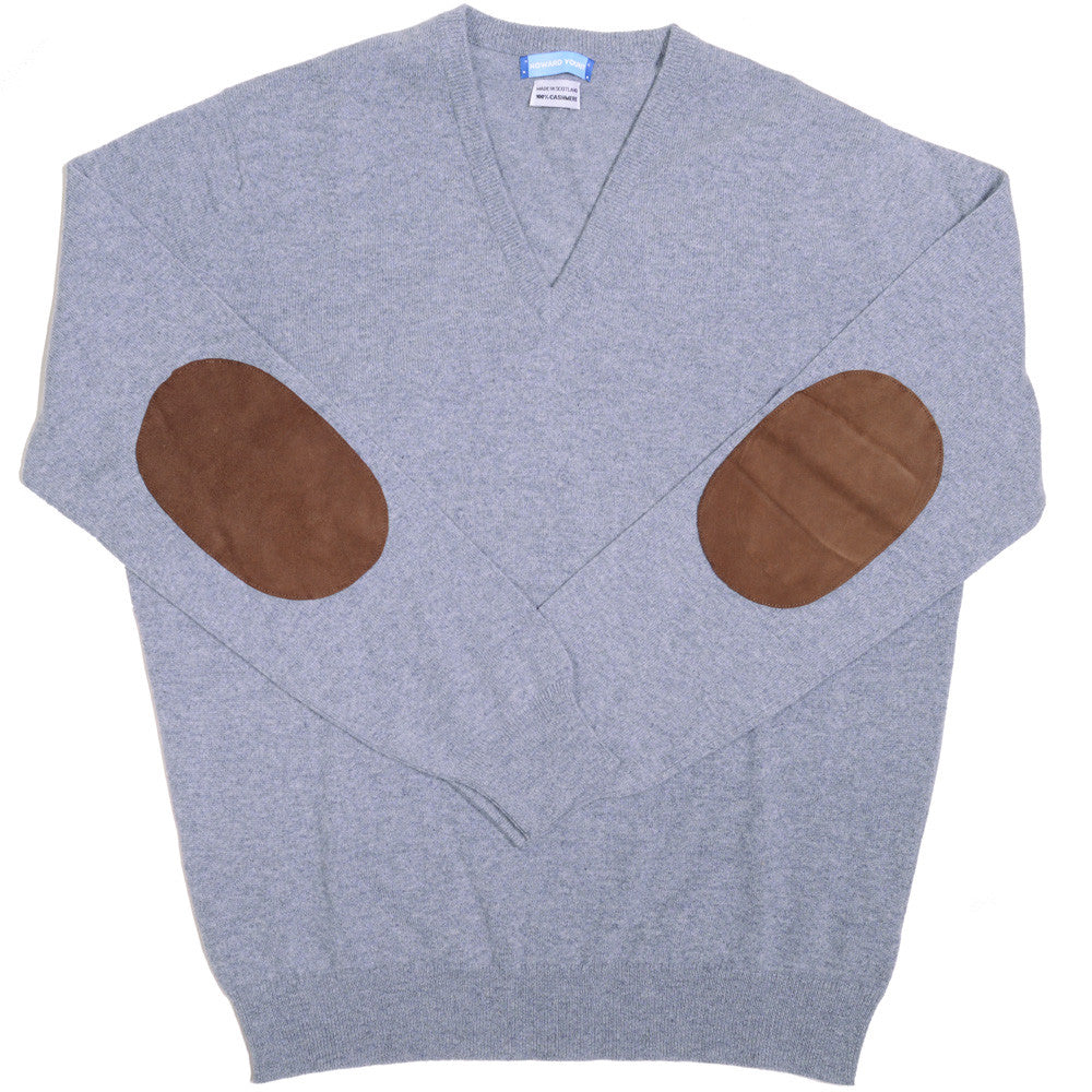 Cashmere V-Neck with Suede Patches - Flannel Gray