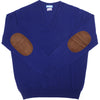 Cashmere V-Neck with Suede Patches - Bright Navy
