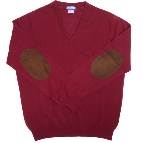Cashmere V-Neck with Suede Patches - Burgundy - S
