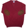 Cashmere V-Neck with Suede Patches - Burgundy
