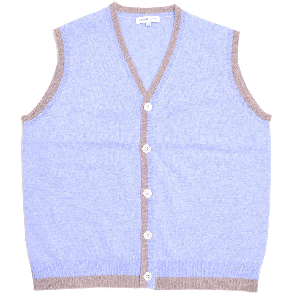 Cashmere Vest - Light Blue and Dark Natural