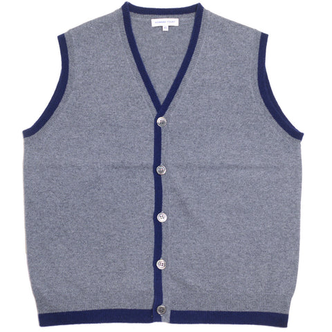 Cashmere Vest - Gray and Blue