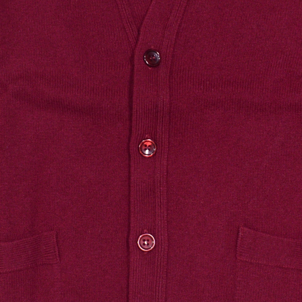 Lambswool Cardigan - Burgundy