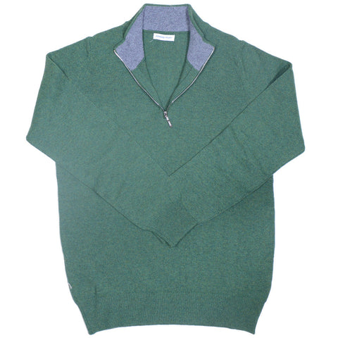 Lambswool Half-Zip - Green and Grey
