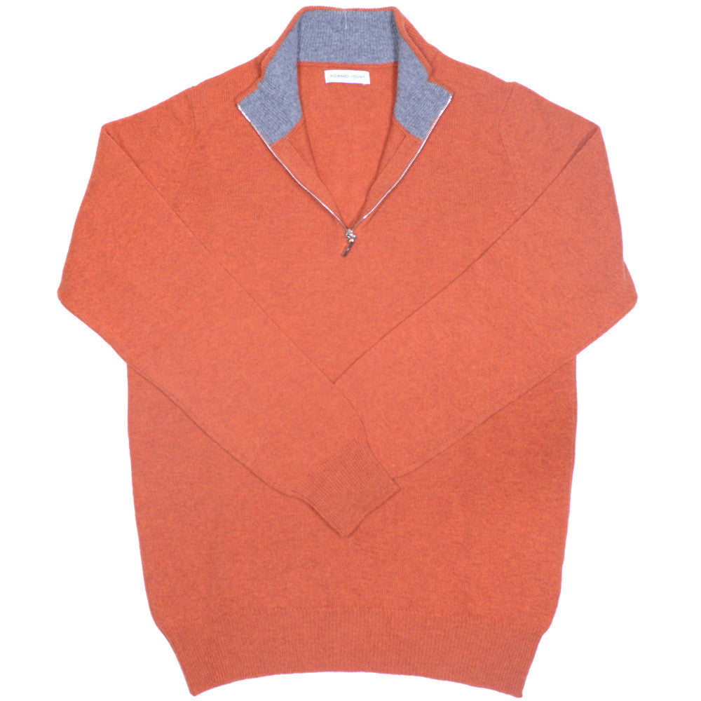 Lambswool Half-Zip - Orange and Grey