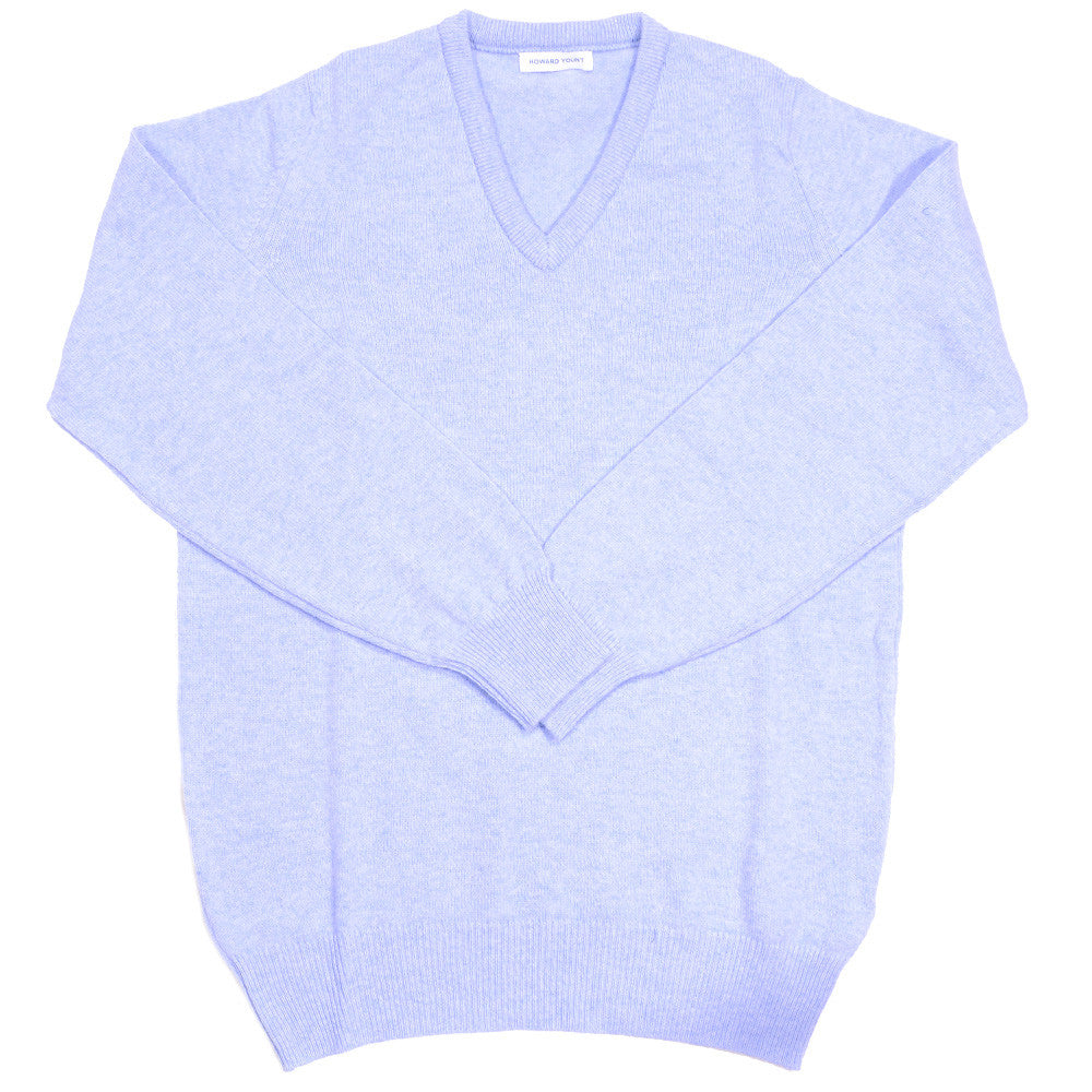 Lambswool V-Neck - Sky Blue
