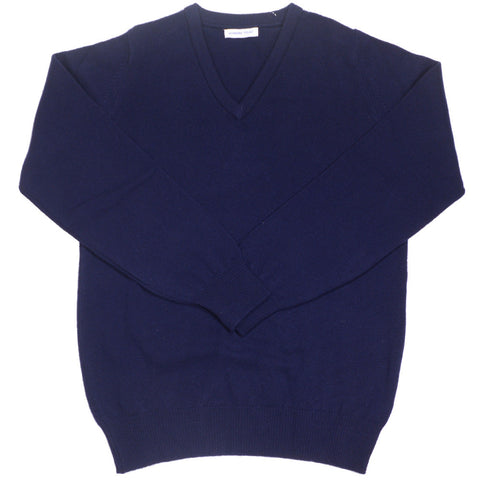 Lambswool V-Neck - Navy - XL