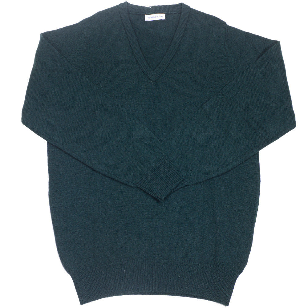 Lambswool V-Neck - Tartan Green