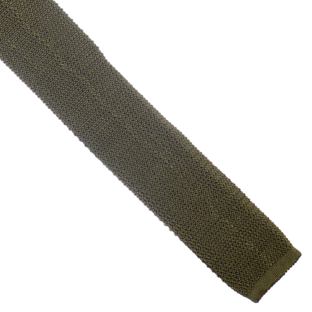 Silk Knit Tie - Camo Green