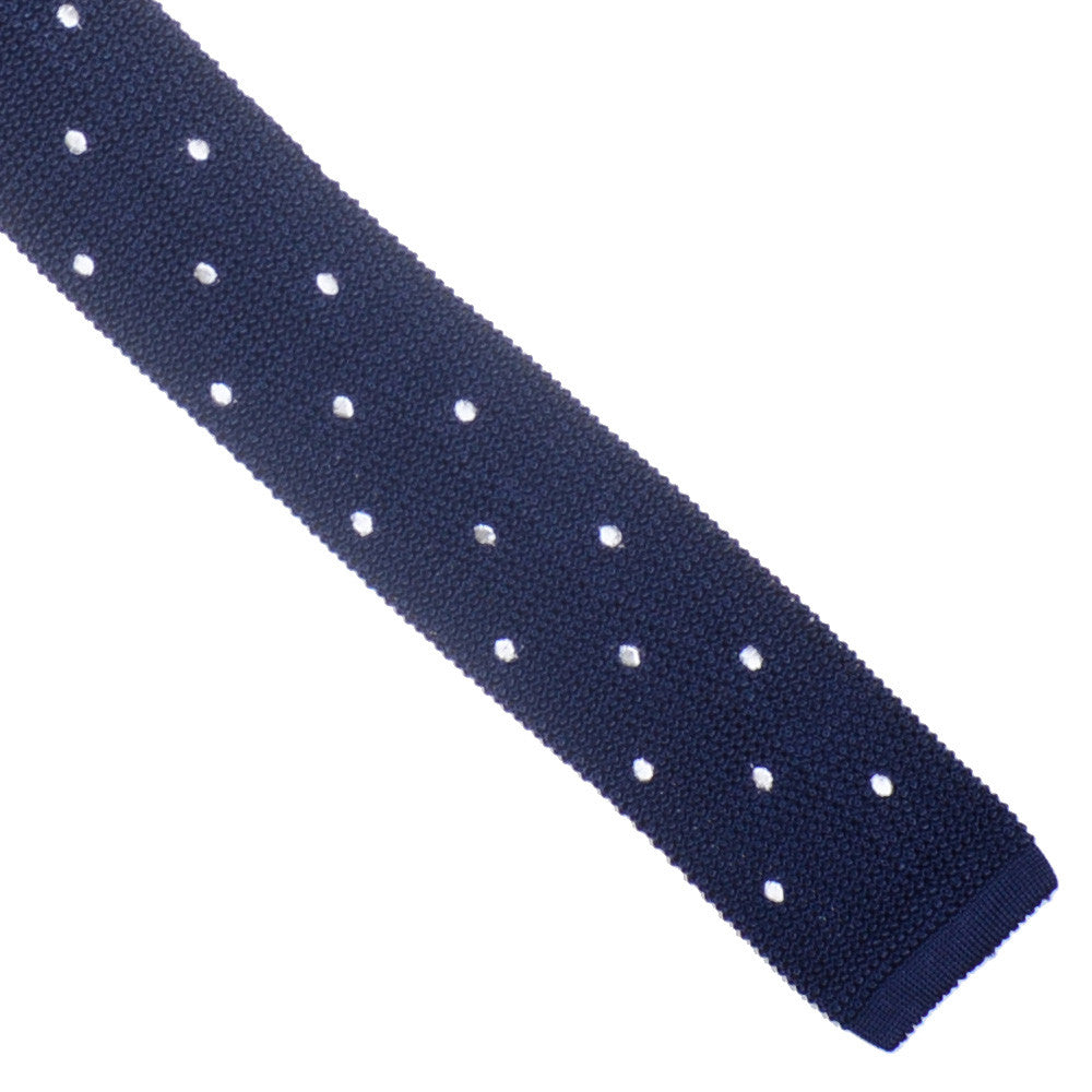 Silk Knit Dot Tie Flat - Navy and White