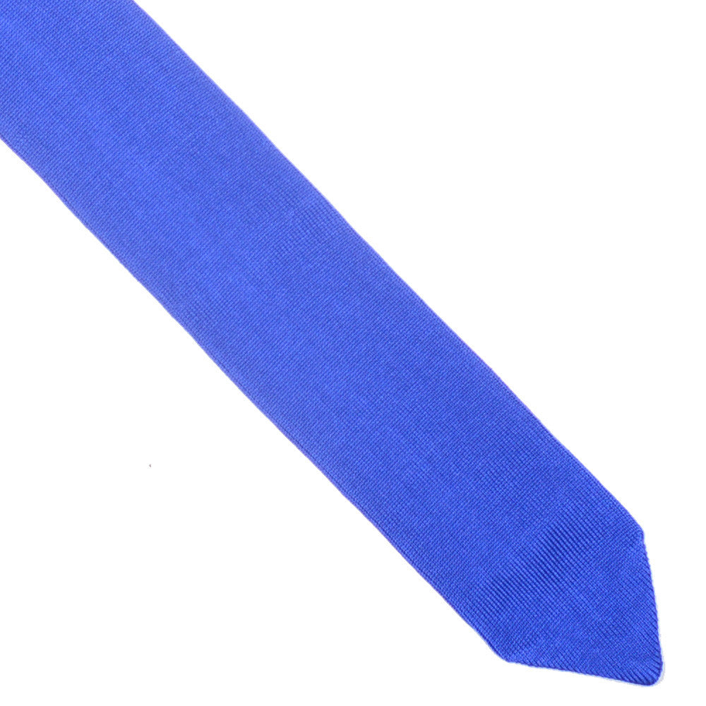 Silk Knit Flat Weave Tie - Lake Blue