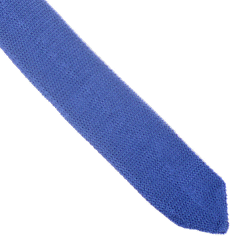 Silk Knit Tie Pointed - Mid Blue
