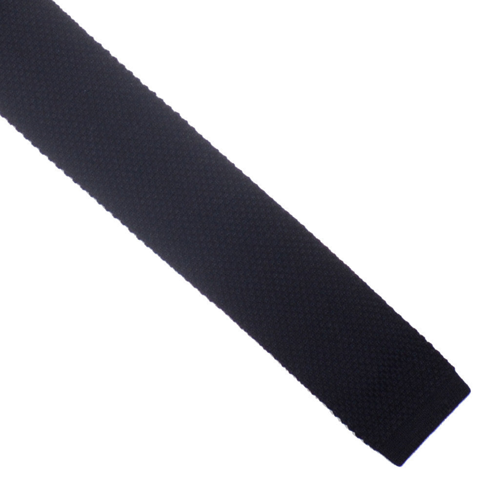 Wool Knit Tie, Flat End - Black