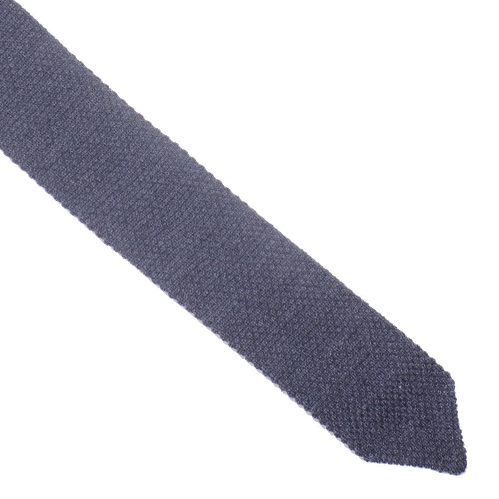 Wool Knit Tie, Pointed End - Gray
