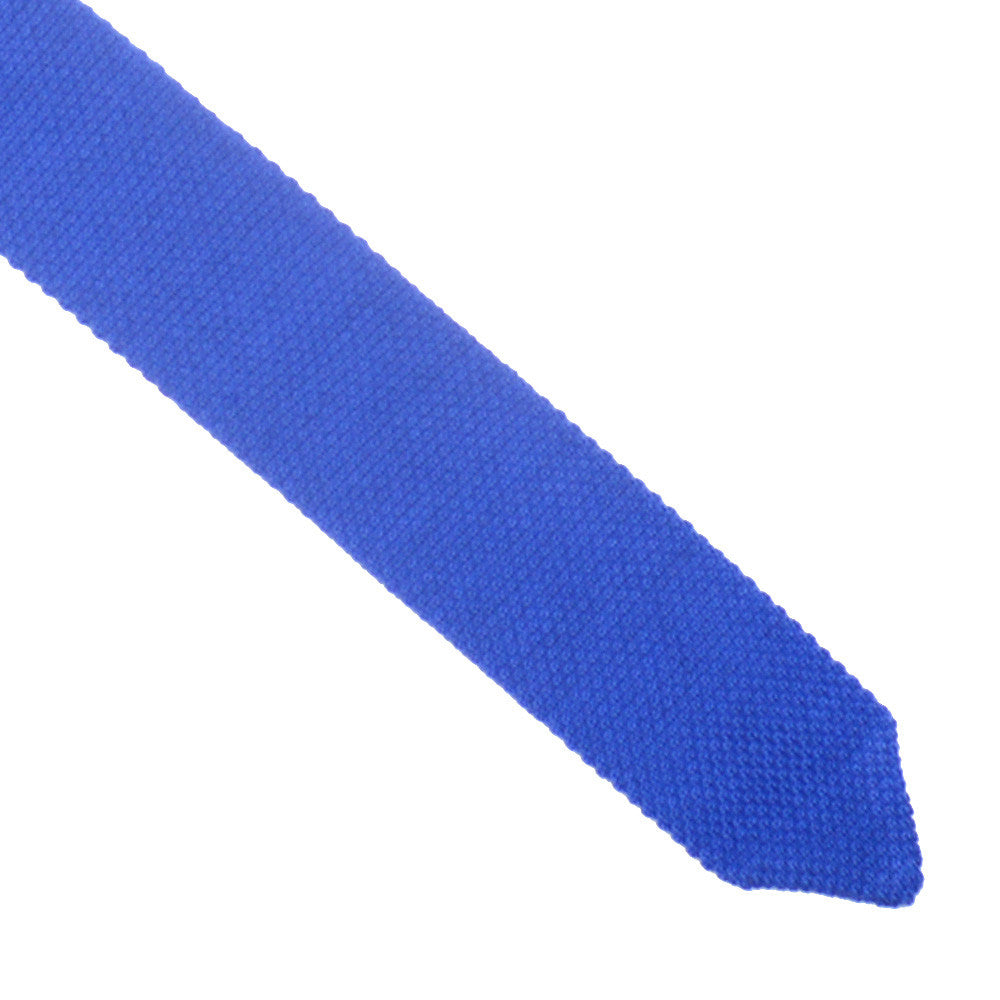 Wool Knit Tie, Pointed End - Lake Blue
