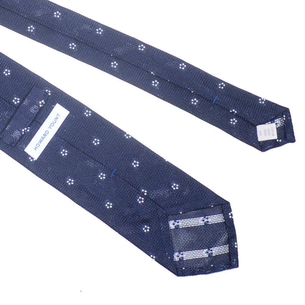 Silk Grenadine Tie - Navy with White Flowers