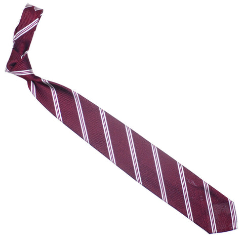 Silk Grenadine Stripe Tie - Red and White
