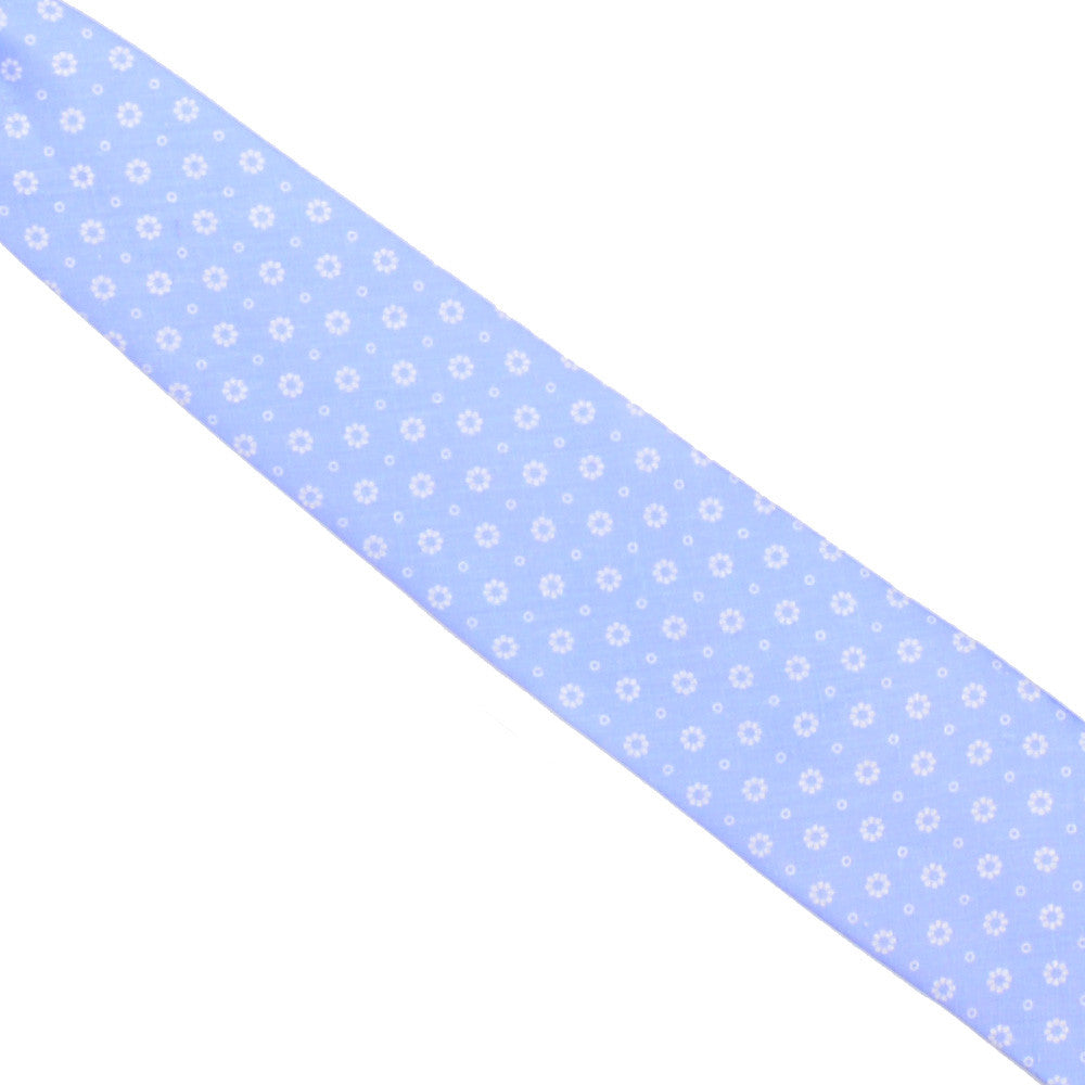 Printed Linen Tie - Light Blue with White Flowers
