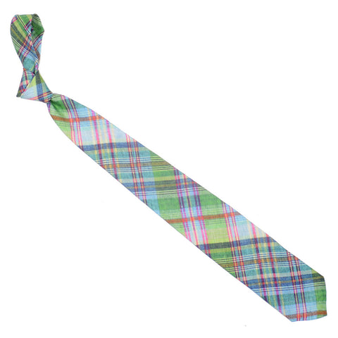Madras Linen Tie - Green, Light Blue, Pink