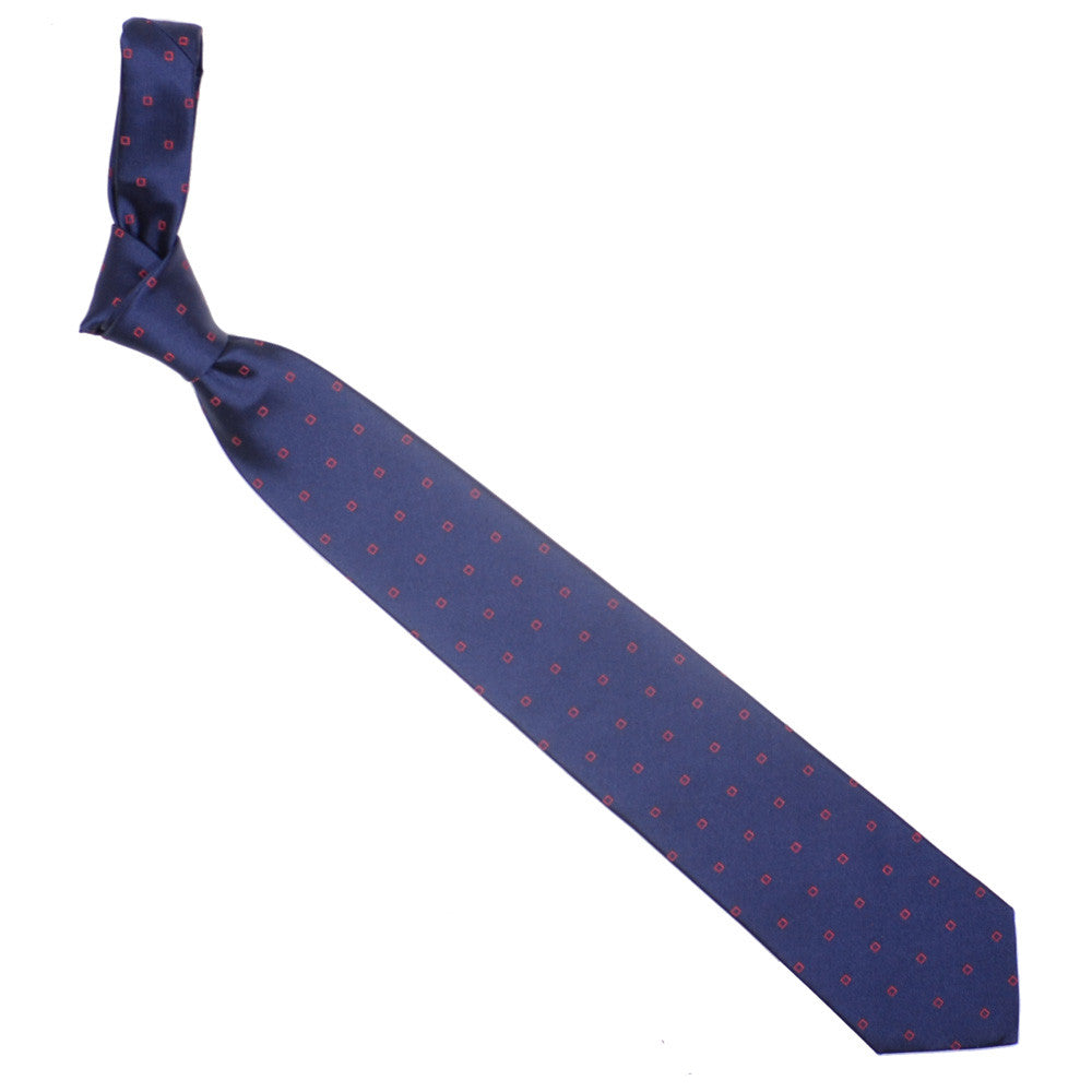 Silk Woven Squares Tie - Navy and Red