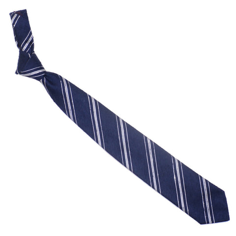 Raw Silk Tie - Navy and White Multistripe