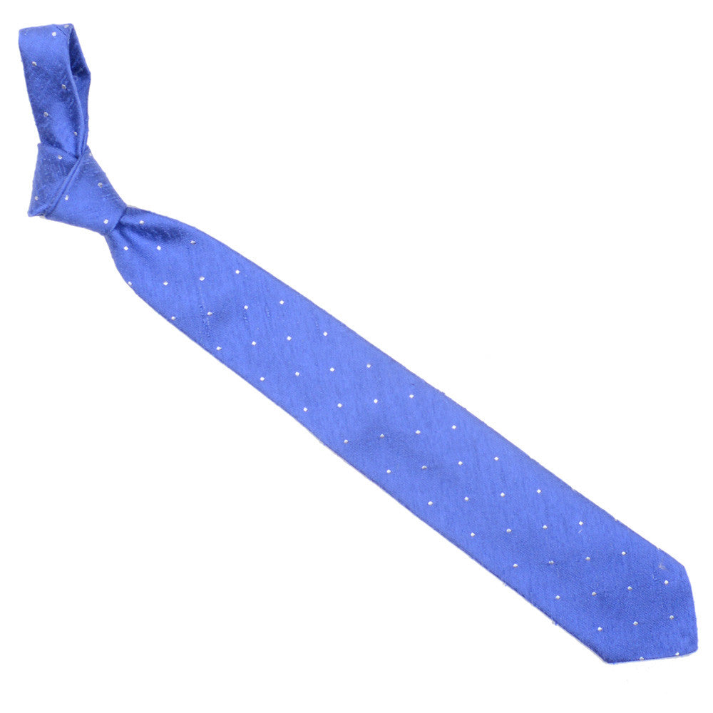 Raw Silk Tie - Light Blue with White Dots