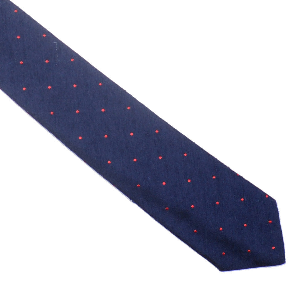 Raw Silk Tie - Navy with Red Dots
