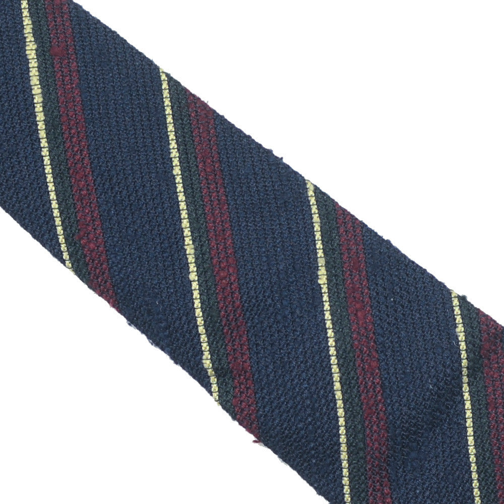 Raw Silk Tie - Navy Red Yellow Narrow Stripe