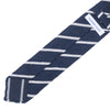 Raw Silk Tie - Navy and White Stripe