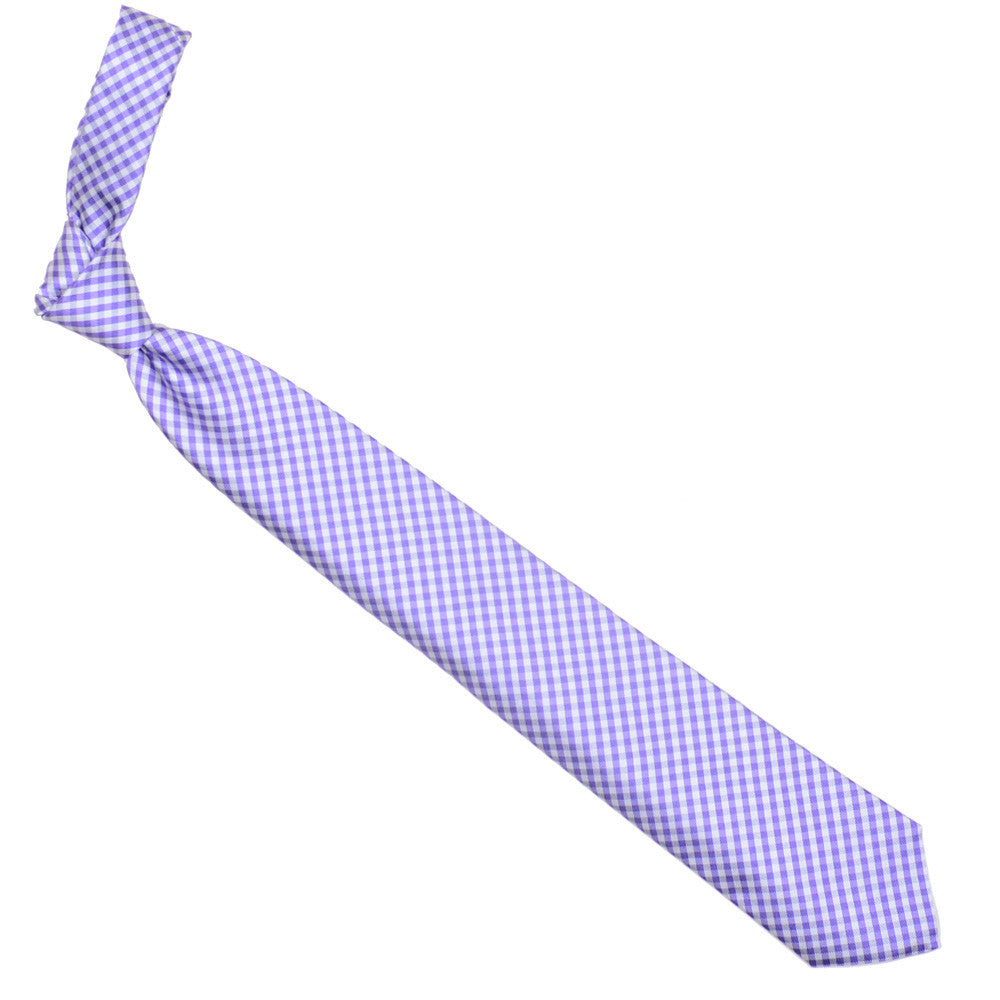 Silk Gingham Tie - Purple