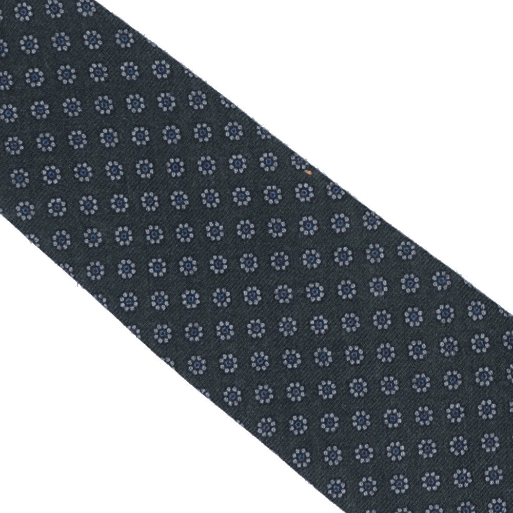 Wool Neat Flower Tie - Green