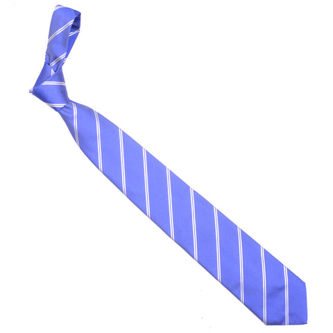 Silk Woven Double Stripe Tie - Blue
