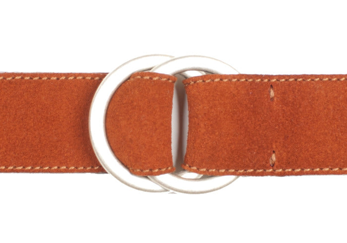Double O-Ring Belt - Burnt Orange Suede