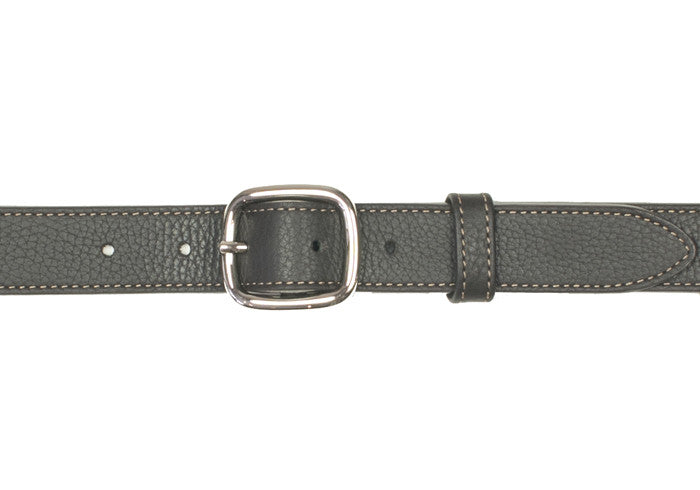 Dress Oval Buckle Deerskin Belt - Dark Brown