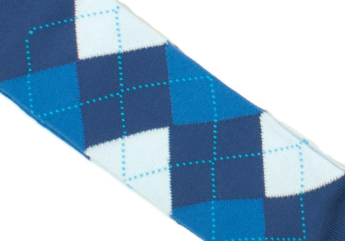 Argyle Cotton Calf Socks - Blue