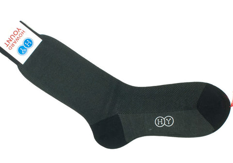 Birdseye Cotton HY Calf Socks - Black