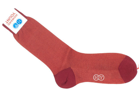 Birdseye Cotton HY Calf Socks - Orange